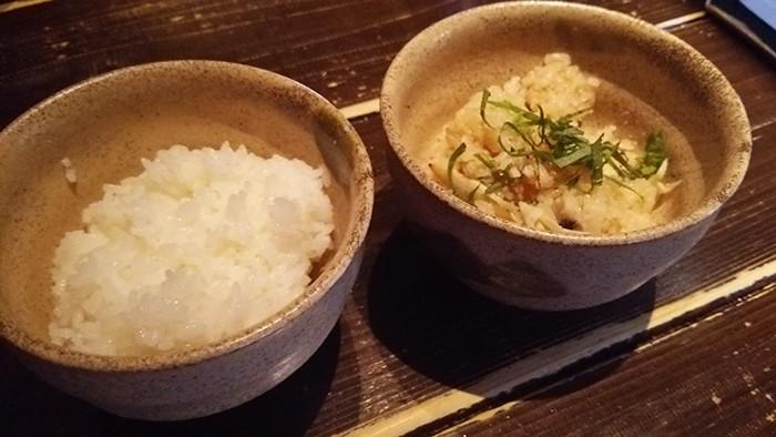 ランチの日替わりご飯と白米
