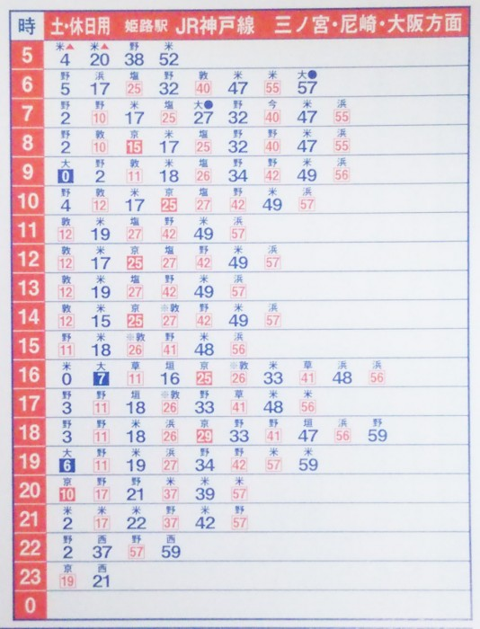 JR姫路駅、神戸方面(土日祝日)の時刻表